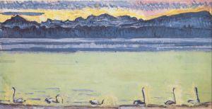 Lake Geneva with Mont Blanc at dawn. 1918