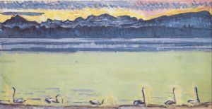 Lake Geneva with Mont Blanc at dawn. 1918